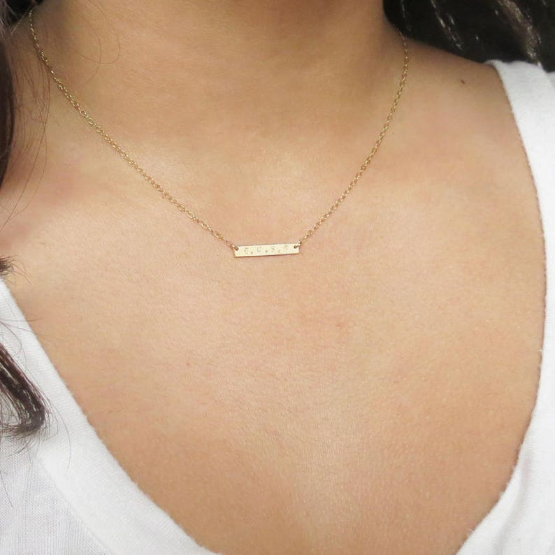 Bar Necklace Gift for Women Bridesmaids Gift Dainty Necklace Mini Bar Necklace Name Necklace Gold Filled L20H34