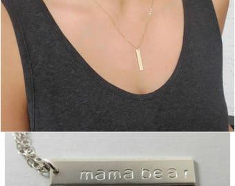 Bar Necklace, Silver Necklace, Vertical Bar Necklace, Personalized Jewelry, Personalized Necklace, Bridesmaid Necklace, Bridesmaid Jewelry