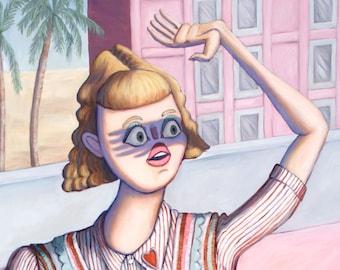 Let me Just Grab my Racket - Fine Art Print - Contemporary Oil Painting - pastel pink Tennis court fashion Portrait by Heather Buchanan