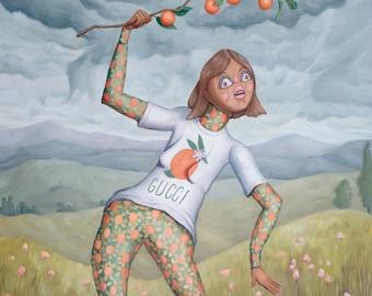 Gucci a L'Orange - Fine Art Print - Contemporary Oil Painting - surrealism Portrait figure painting and landscape by Heather Buchanan