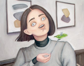 Laughing With Salad - Fine Art Print - Contemporary Oil Painting - surrealism Portrait figure painting and landscape by Heather Buchanan