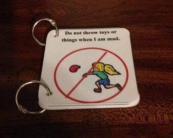 No Throwing Social Key Ring Cards