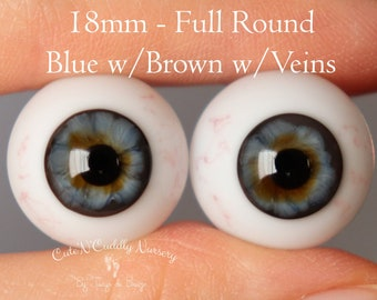 18mm - Full Round - Glass Eyes - Blue w/Brown with Veins