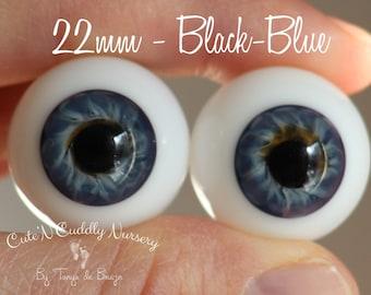 24mm Blue Gray Brown #21 German Glass Eyes Full Round