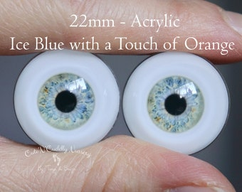 22mm - Acrylic Eyes - Ice Blue with a Touch of Orange