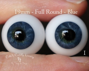 19mm - Full Round - German Glass Eyes - Blue - Imperfect