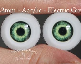 22mm - Acrylic Eyes - Electric Green