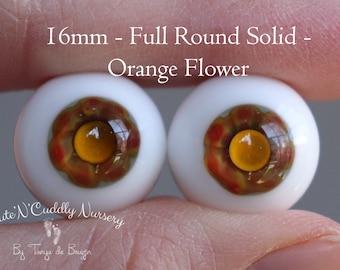 16mm - Full Round Solid - Orange Flower