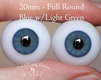 20mm - Full Round - German Glass Eyes - Blue with Light Green