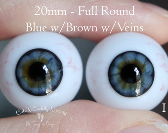 20mm - Full Round - German Glass Eyes - Blue with Brown with Veins