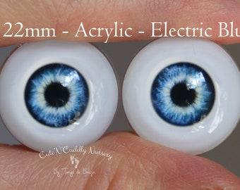 22mm - Acrylic Eyes -  Electric Blue