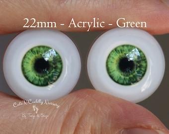 22mm - Acrylic Eyes - Green