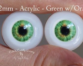 22mm - Acrylic Eyes - Green w/Orange