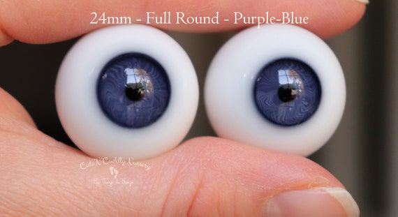 Normal Blue #10 German Glass Eyes Full Round 24mm