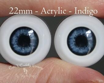 22mm - Acrylic Eyes -  Indigo