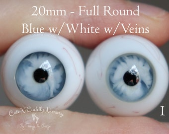 20mm - Full Round - German Glass Eyes - Blue with White with Veins