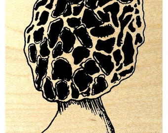 P119 Small Morel Mushroom Rubber Stamp
