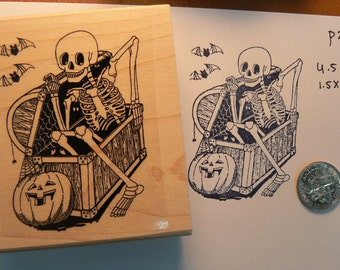 Rubber stamp Halloween vampire coffin   scrapbooking supplies number 16618 stamping holiday horror