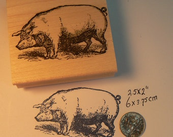 When Pigs Fly Series Pig Pilot Rubber Stamp Airplane J33404 Wood Mounted