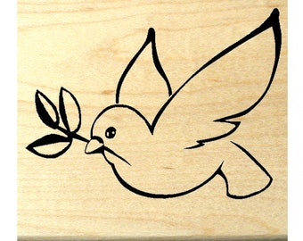 CMS #2 Dove with Olive Branch Mounted Rubber Stamp Inspirational Image Symbol of Peace Bird