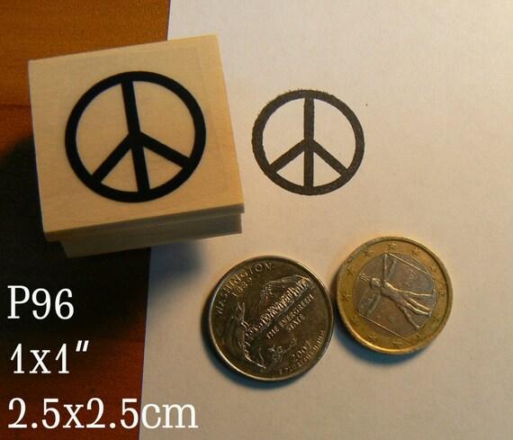 P96 Peace symbol rubber stamp