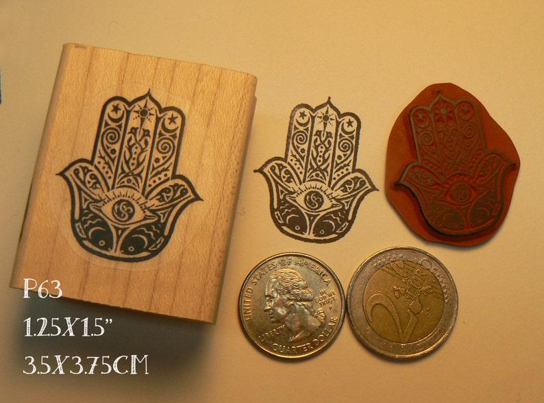 P63 Hand Hamsa rubber stamp