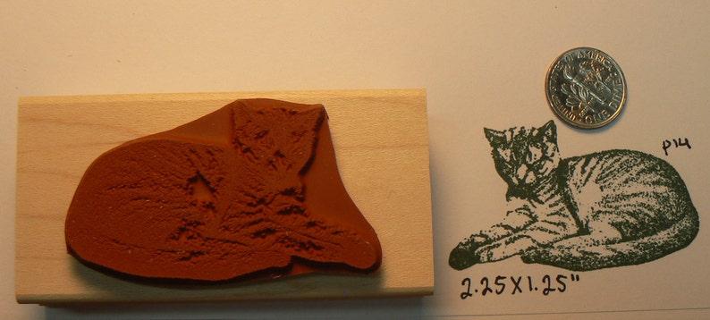 Sleeping cat rubber stamp WM P14