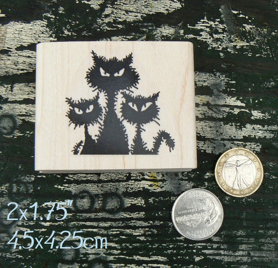 P64 3 angry wet cats rubber stamp