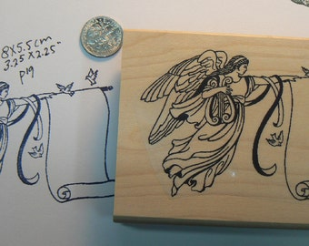 Angel with scroll rubber stamp p19