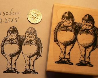 Alice in Wonderland's Tweedle Dee and Tweedle Dum rubber stamp WM P50