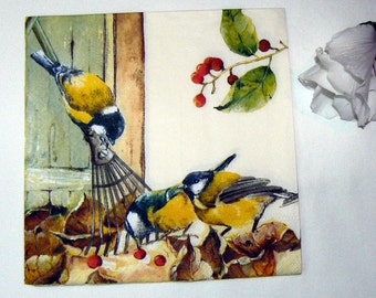 2  images Napkins from Holland birds and berries
