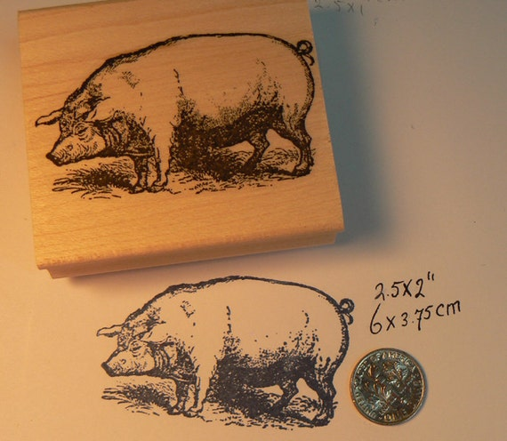 pig rubber stamp vintage style wood mounted p10 etsy