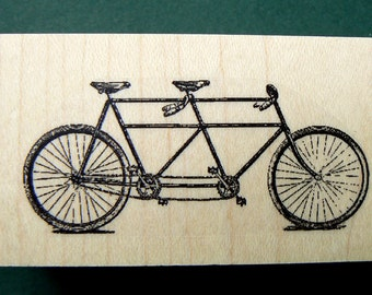 tandem bicycle rubber stamp  P11