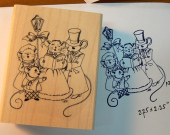 P29 The Christmas Carolers rubber stamp