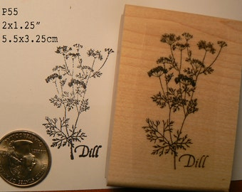 Dill herb rubber stamp WM P55