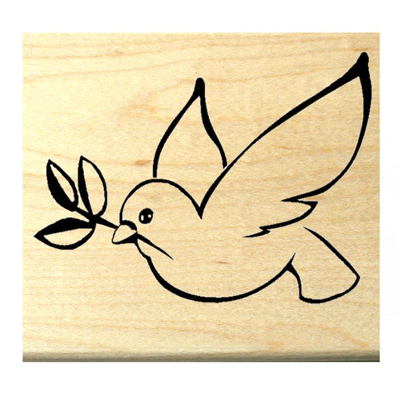 P120 Peace Dove with Olive Branch Rubber Stamp