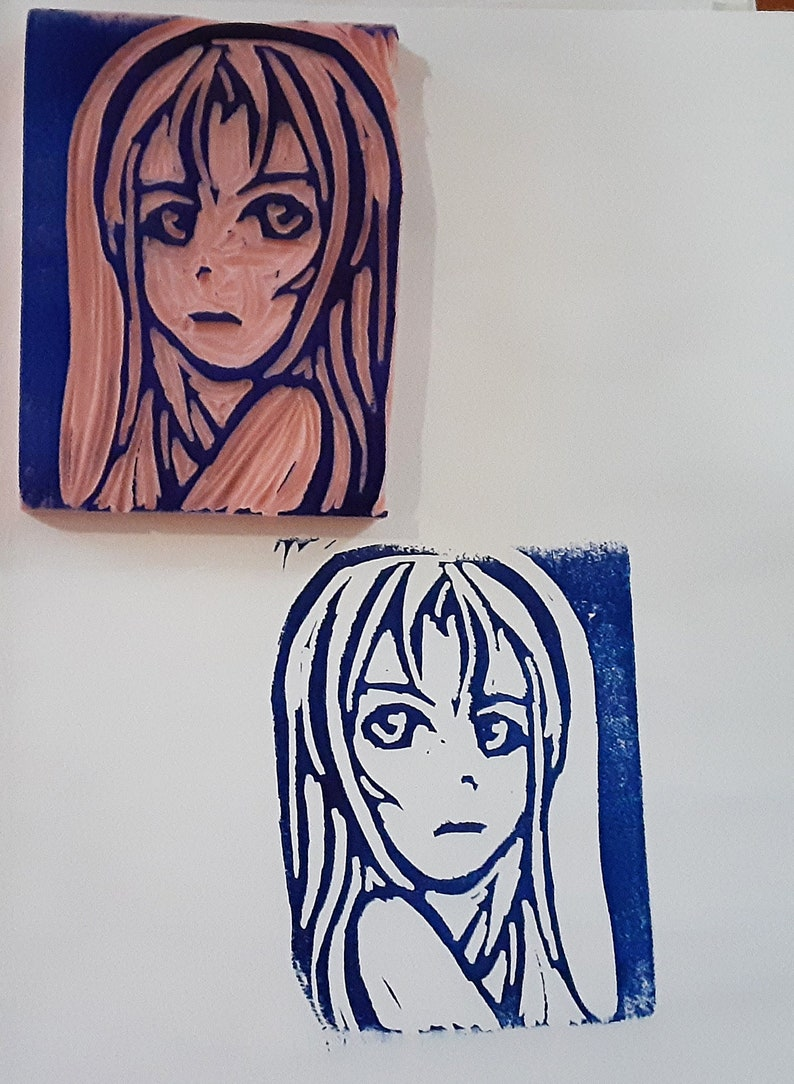 Hand carved Anime Girl Rubber Stamp Ugly Stamp