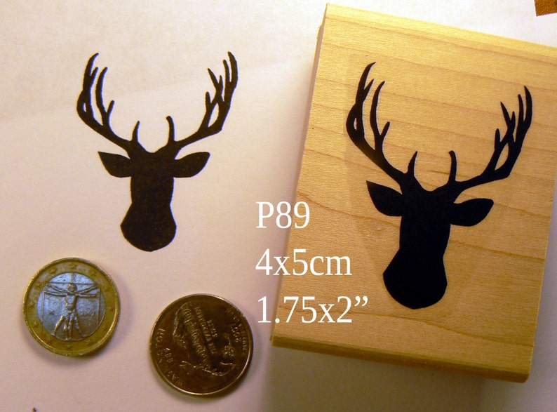 antlers rubber stamp P89 Stag