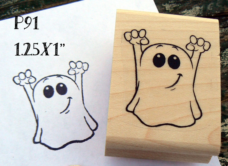 Small ghost rubber stamp