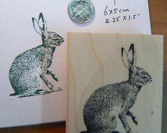 Rabbit, hare,  rubber stamp WM P16