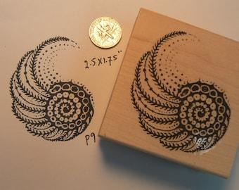 P9 Nautical  shell rubber stamp WM
