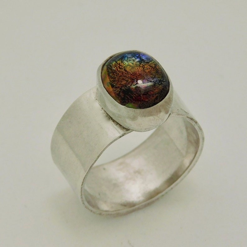 Moody Purple and Bronze Color Shifting Silver Ring Size 5.5