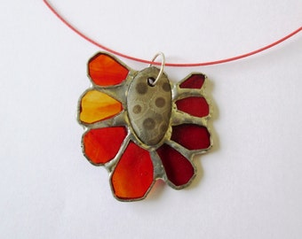 SALE  - Red Lake - Bright Stained Glass Pendant with Fossil Centerpiece