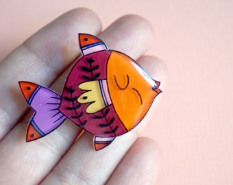 Fish acrylic brooch | summer jewelry | quirky fashion | colorful acrylic jewelry