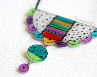 Statement acrylic necklace | Abstuct jewelry | Colorful jewelry |  handpainted one of a kind necklace | quirky gift ideas
