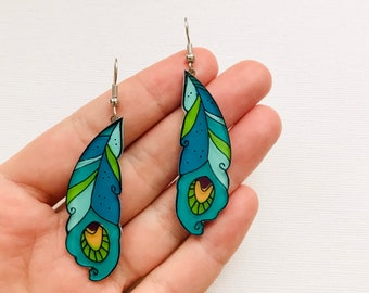 Peacock feathers dangle earrings | Christmas festive earrings | illustrated acrylic jewelry | quirky jewelry
