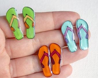 Flip flops stud earrings | Summer jewelry | Quirky acrylic jewelry | Fun cute earrings | Beach jewelry