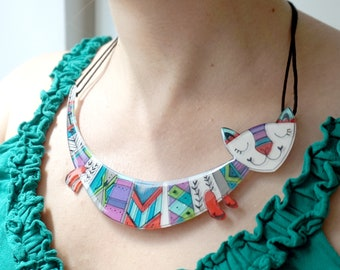 Cat statement necklace, Bold necklace , Colorful gift for her, Acrylic cat necklace , Quirky cat jewelry, Chunky necklace