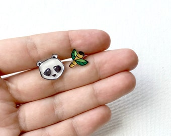 Panda bear and bamboo stud earrings | Cute animal earrings | Uneven design earrings | Quirky gifts for her