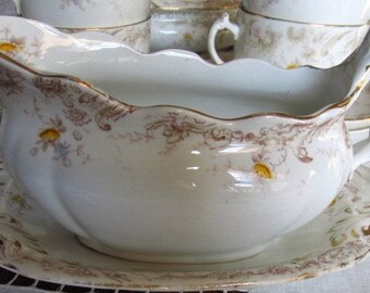 1800's Victorian Gravy Boat And Saucer, Yellow Roses Transferware, Sale was 47.99 Now 42.99
